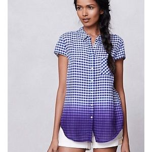 Anthropologie Holding Horses Dipped Gingham Top